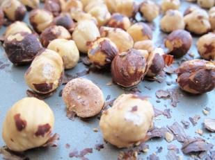 Toasted hazelnuts before peeling